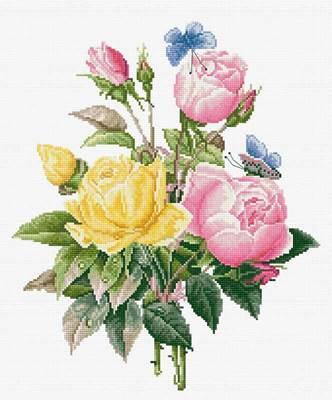 Изображение Желтые розы и бенгальские розы