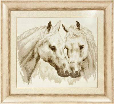 Изображение Пара белых лошадей