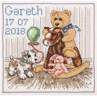 Изображение Мишкин день рождения Метрика (Teddy Birth Sampler)