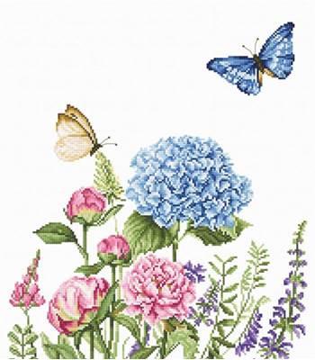 Изображение Летние цветы и бабочки