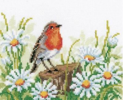 Изображение Малиновка и ромашки (Robin and Daisies)