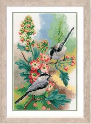 Изображение Синицы и цветы (Chickadees and blossoms)