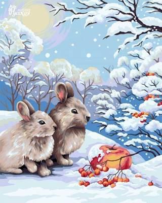 Изображение Кролики в зимнем лесу