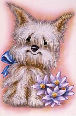 Изображение Пёс с цветами