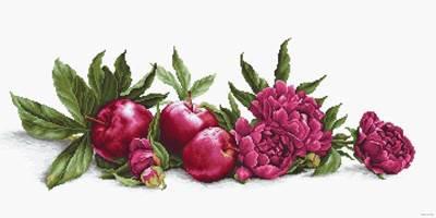 Изображение Пионы и красные яблоки