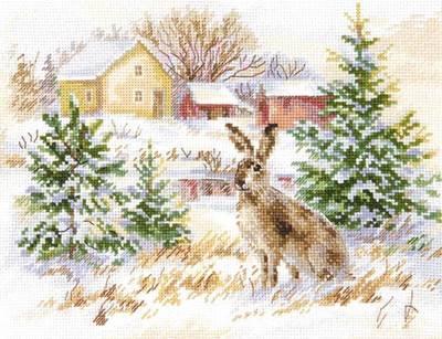 Изображение Зимний день. Заяц-русак