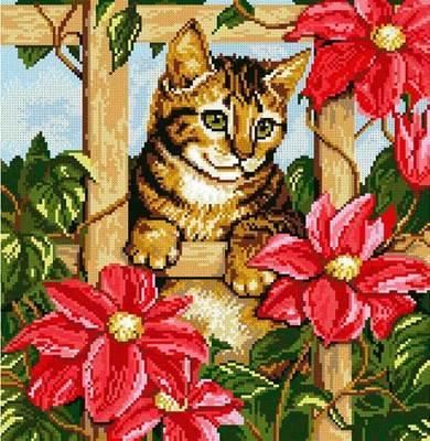 Изображение Котенок в цветах