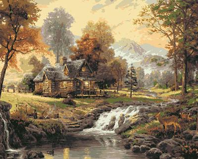 Изображение Дом в солнечном лесу
