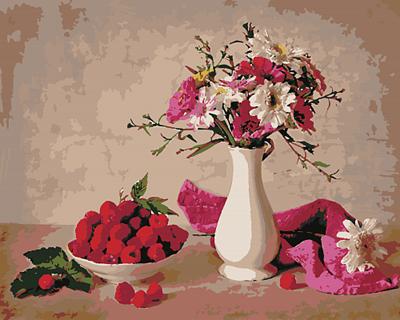 Изображение Малина и цветы