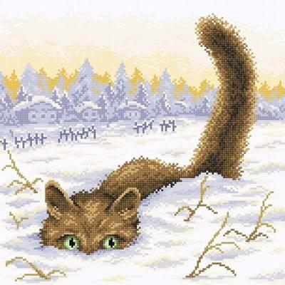 Изображение Кот в снегу