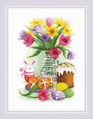 Изображение Пасхальный натюрморт с зайчиком